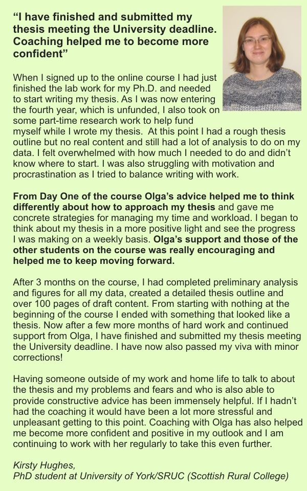 testimonial from Kirsty for Olga's writing online course