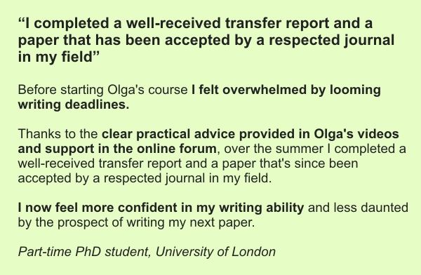 "testimonial for Olga's online course ""Start writing and get it done!"""