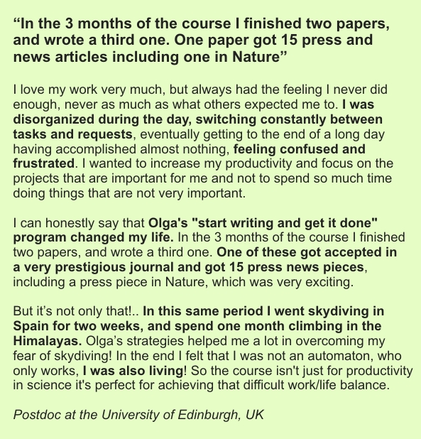 """testimonial for Olga's online course """"Start writing and get it done!"""""""