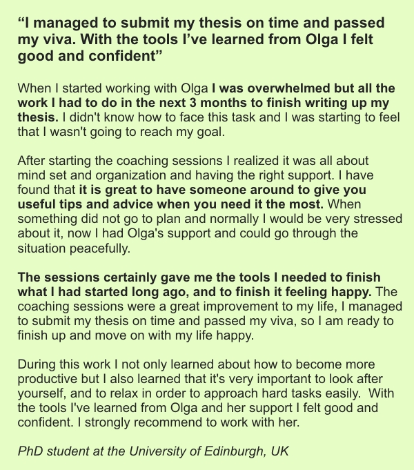 thesis writing testimonial for Olga's private coaching
