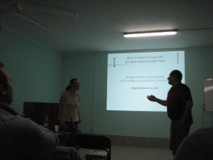 Olga Degtyareva is giving a productivity talk at the Physics school in Russia